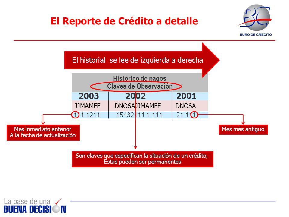 El Reporte de Crédito a detalle Mes inmediato anterior A la fecha de actualización Histórico de pagos Claves de Observación 2003 2002 2001 111 1211 15