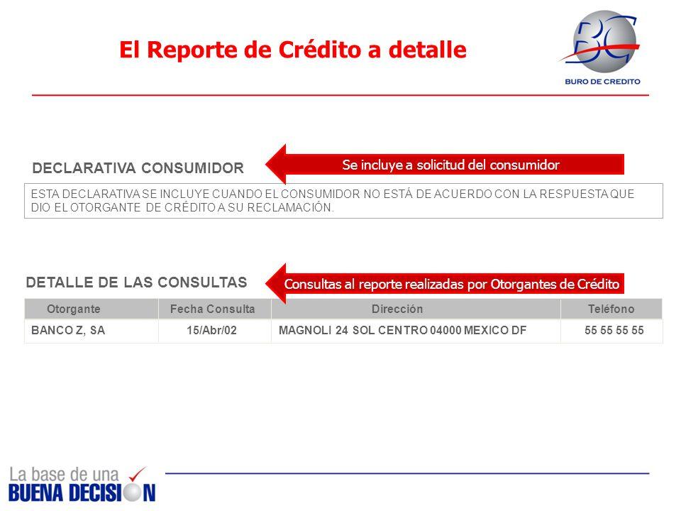 El Reporte de Crédito a detalle DETALLE DE LAS CONSULTAS Otorgante Fecha ConsultaDirección Teléfono BANCO Z, SA 15/Abr/02 MAGNOLI 24 SOL CENTRO 04000