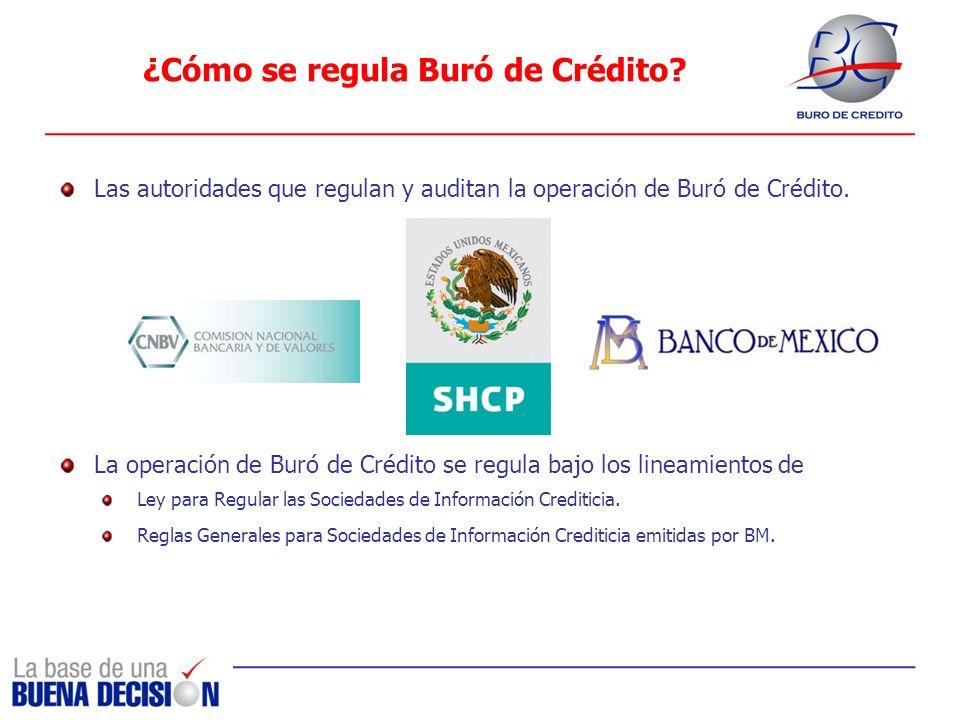 ¿Cómo se regula Buró de Crédito? Las autoridades que regulan y auditan la operación de Buró de Crédito. La operación de Buró de Crédito se regula bajo