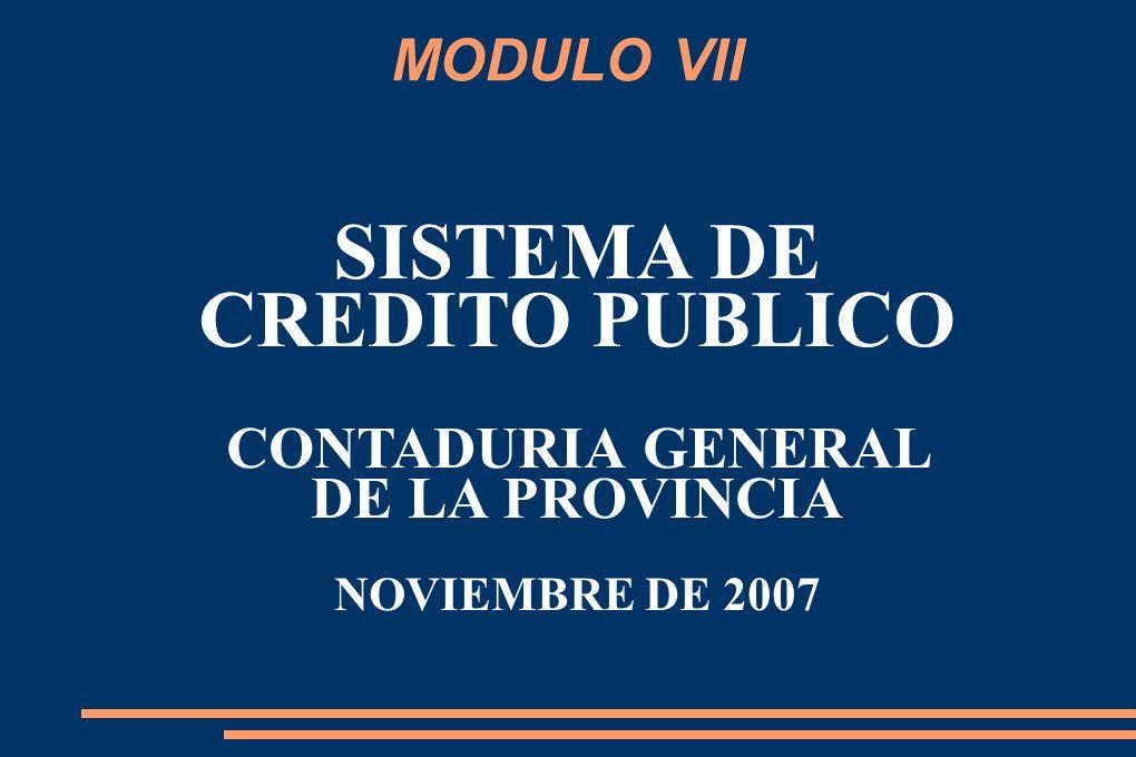MODULO VII SISTEMA DE CREDITO PUBLICO CONTADURIA GENERAL DE LA PROVINCIA NOVIEMBRE DE 2007