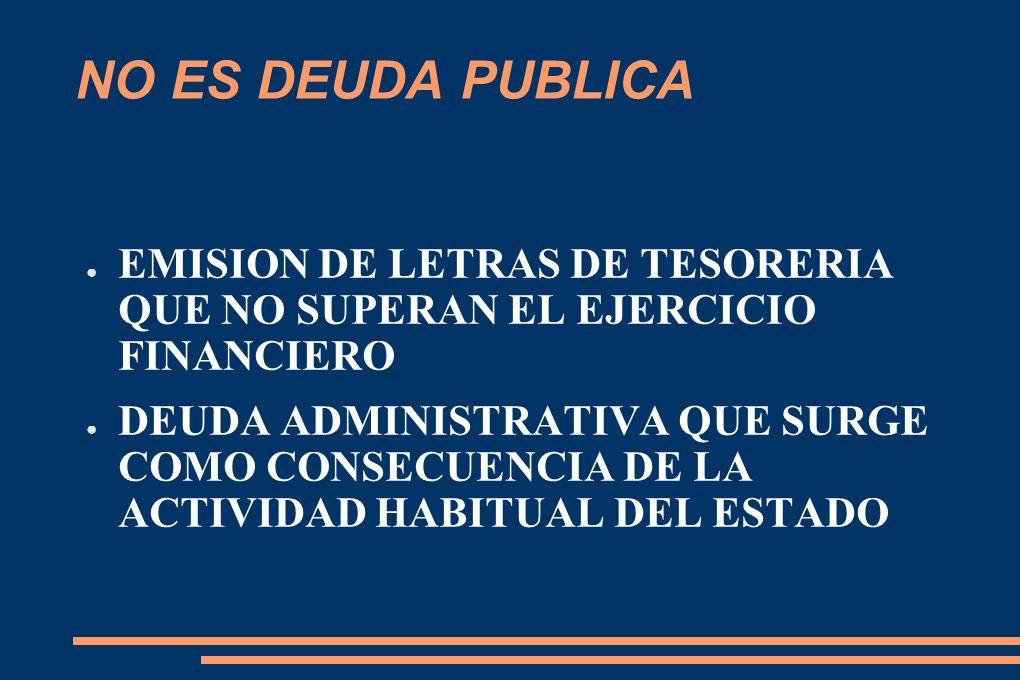 NO ES DEUDA PUBLICA EMISION DE LETRAS DE TESORERIA QUE NO SUPERAN EL EJERCICIO FINANCIERO DEUDA ADMINISTRATIVA QUE SURGE COMO CONSECUENCIA DE LA ACTIVIDAD HABITUAL DEL ESTADO