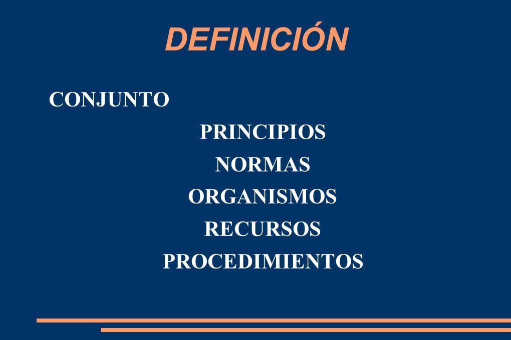 DEFINICIÓN CONJUNTO PRINCIPIOS NORMAS ORGANISMOS RECURSOS PROCEDIMIENTOS