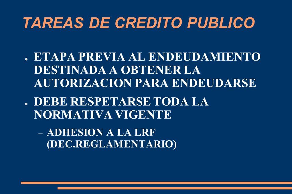 TAREAS DE CREDITO PUBLICO ETAPA PREVIA AL ENDEUDAMIENTO DESTINADA A OBTENER LA AUTORIZACION PARA ENDEUDARSE DEBE RESPETARSE TODA LA NORMATIVA VIGENTE ADHESION A LA LRF (DEC.REGLAMENTARIO)