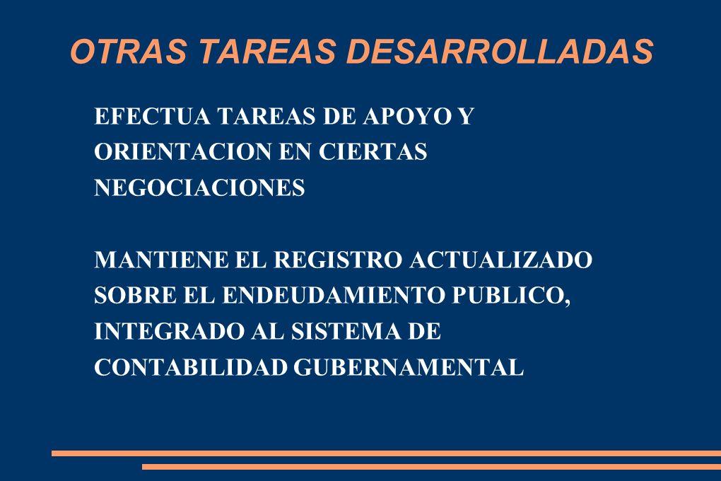 OTRAS TAREAS DESARROLLADAS EFECTUA TAREAS DE APOYO Y ORIENTACION EN CIERTAS NEGOCIACIONES MANTIENE EL REGISTRO ACTUALIZADO SOBRE EL ENDEUDAMIENTO PUBLICO, INTEGRADO AL SISTEMA DE CONTABILIDAD GUBERNAMENTAL