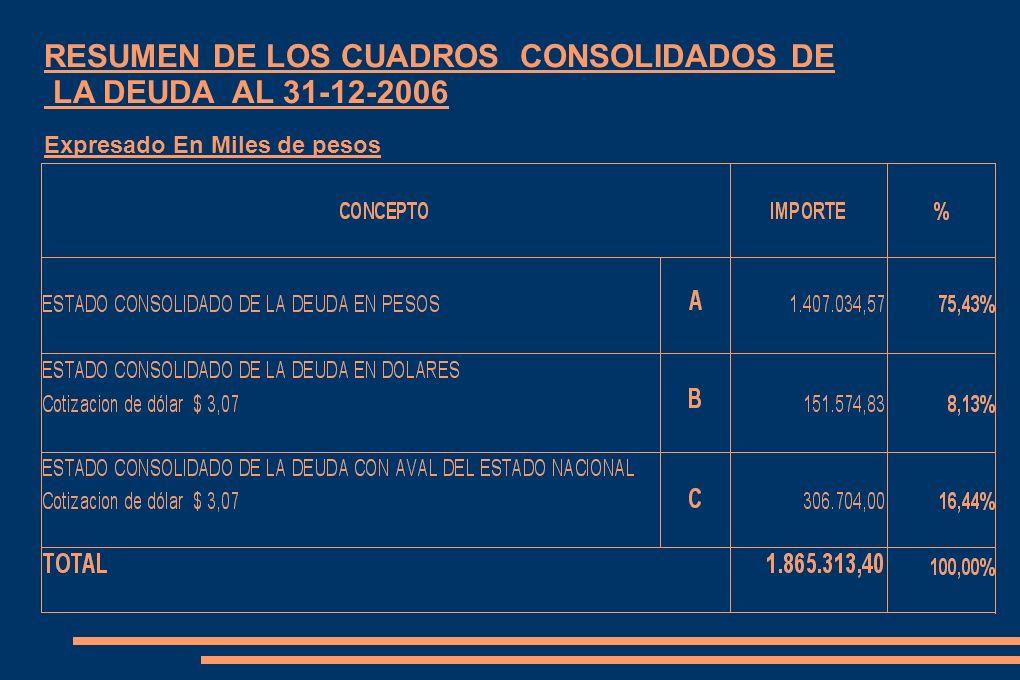RESUMEN DE LOS CUADROS CONSOLIDADOS DE LA DEUDA AL 31-12-2006 Expresado En Miles de pesos