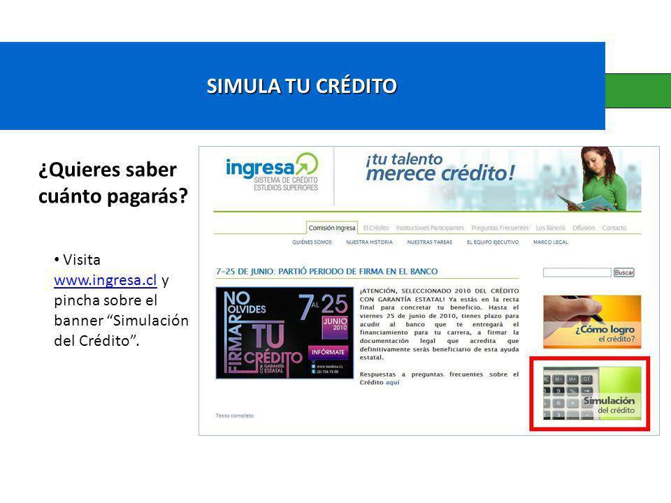 SIMULA TU CRÉDITO ¿Quieres saber cuánto pagarás? Visita www.ingresa.cl y pincha sobre el banner Simulación del Crédito. www.ingresa.cl