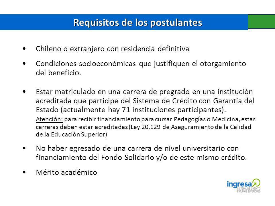 Requisitos de los postulantes Requisitos de los postulantes Chileno o extranjero con residencia definitiva Condiciones socioeconómicas que justifiquen el otorgamiento del beneficio.
