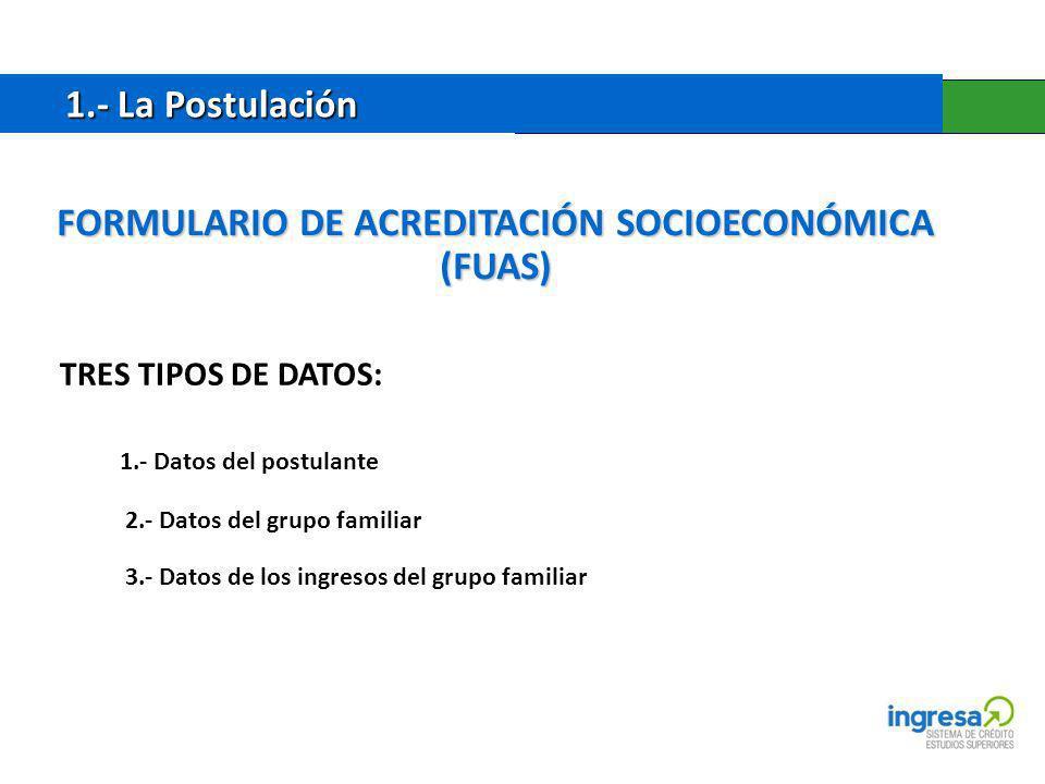 1.- La Postulación 1.- La Postulación TRES TIPOS DE DATOS: 1.- Datos del postulante 2.- Datos del grupo familiar 3.- Datos de los ingresos del grupo familiar