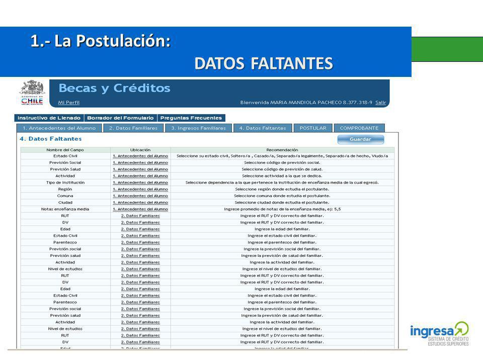 1.- La Postulación: 1.- La Postulación: DATOS FALTANTES