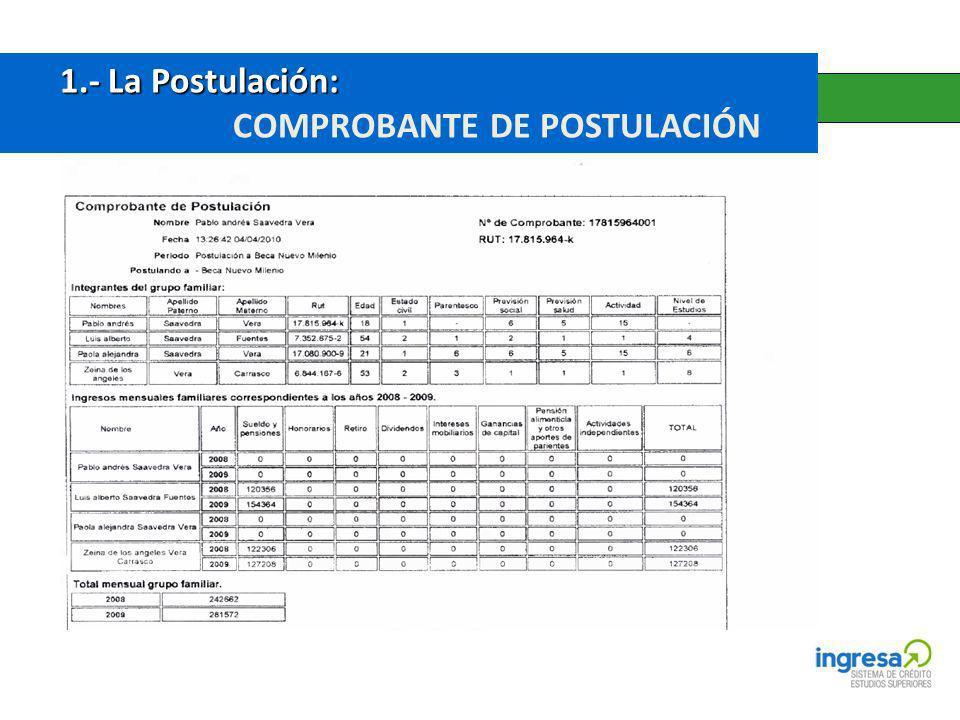 1.- La Postulación: 1.- La Postulación: COMPROBANTE DE POSTULACIÓN