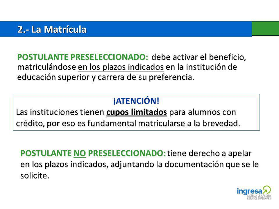 2.- La Matrícula 2.- La Matrícula POSTULANTE PRESELECCIONADO: debe activar el beneficio, matriculándose en los plazos indicados en la institución de educación superior y carrera de su preferencia.