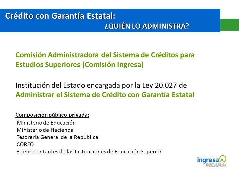 Crédito con Garantía Estatal: ¿QUIÉN LO ADMINISTRA? Comisión Administradora del Sistema de Créditos para Estudios Superiores (Comisión Ingresa) Instit