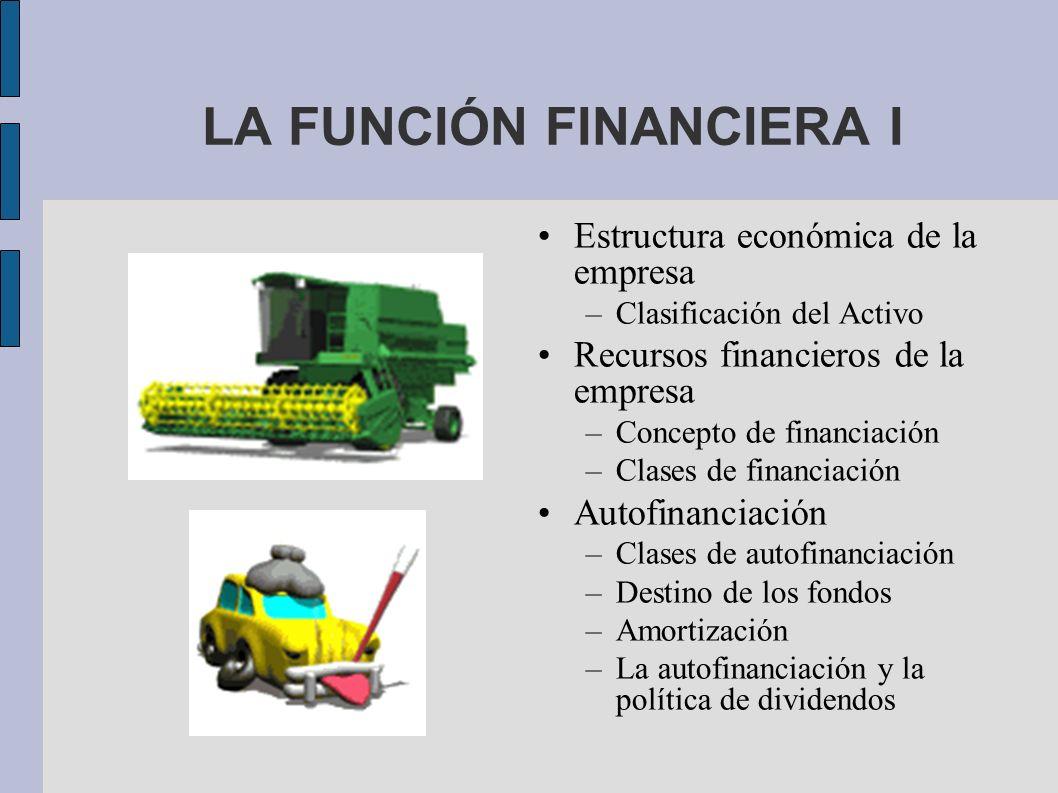 LA FUNCIÓN FINANCIERA I Estructura económica de la empresa –Clasificación del Activo Recursos financieros de la empresa –Concepto de financiación –Cla