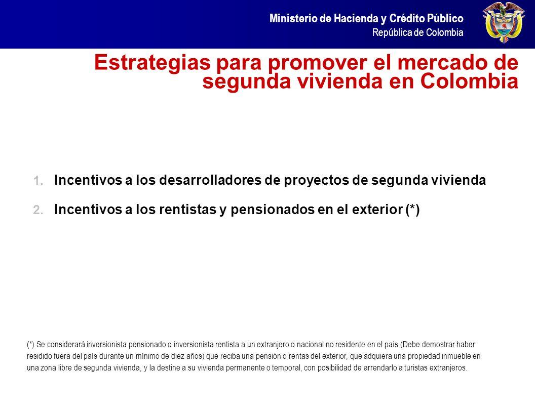 Ministerio de Hacienda y Crédito Público República de Colombia Estrategias para promover el mercado de segunda vivienda en Colombia 1. Incentivos a lo
