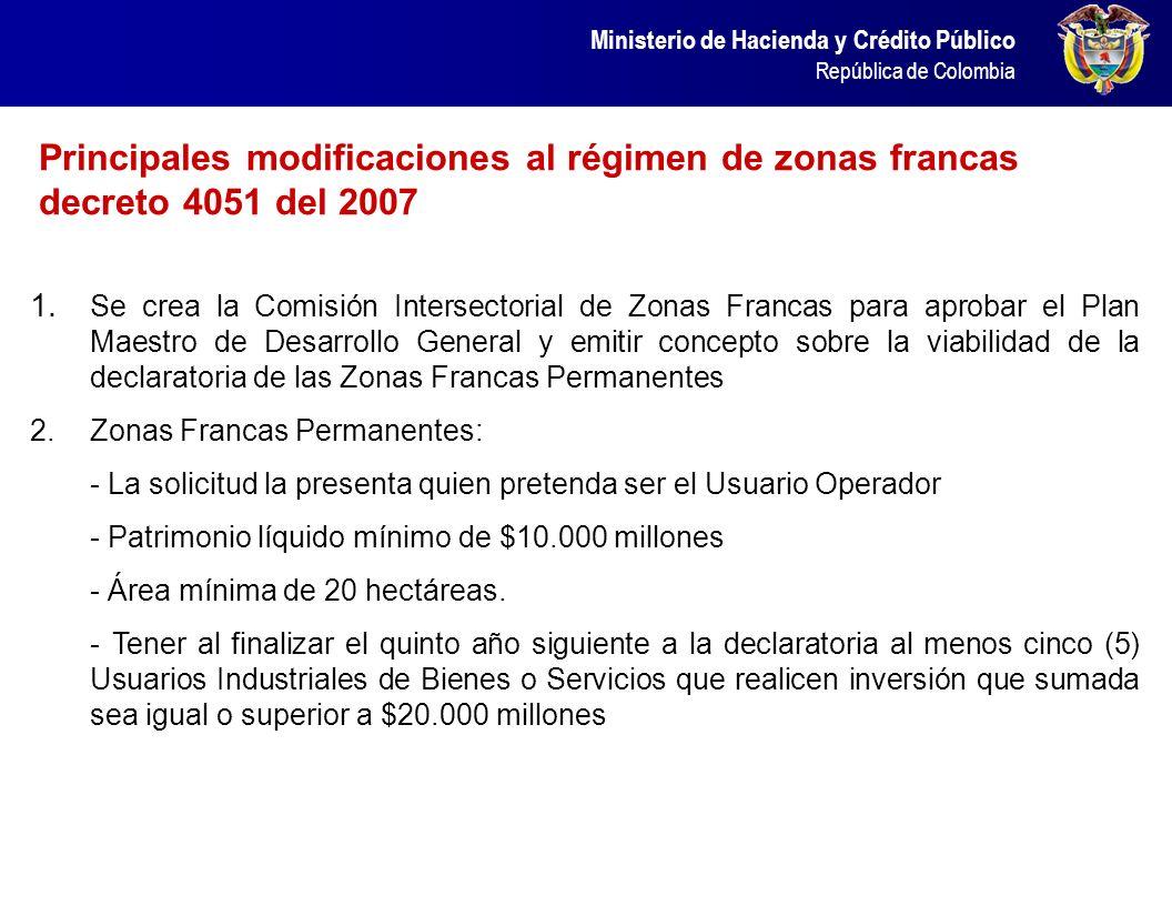 Ministerio de Hacienda y Crédito Público República de Colombia Principales modificaciones al régimen de zonas francas decreto 4051 del 2007 1. Se crea