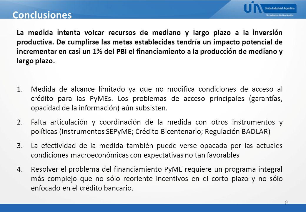 9 Conclusiones La medida intenta volcar recursos de mediano y largo plazo a la inversión productiva.