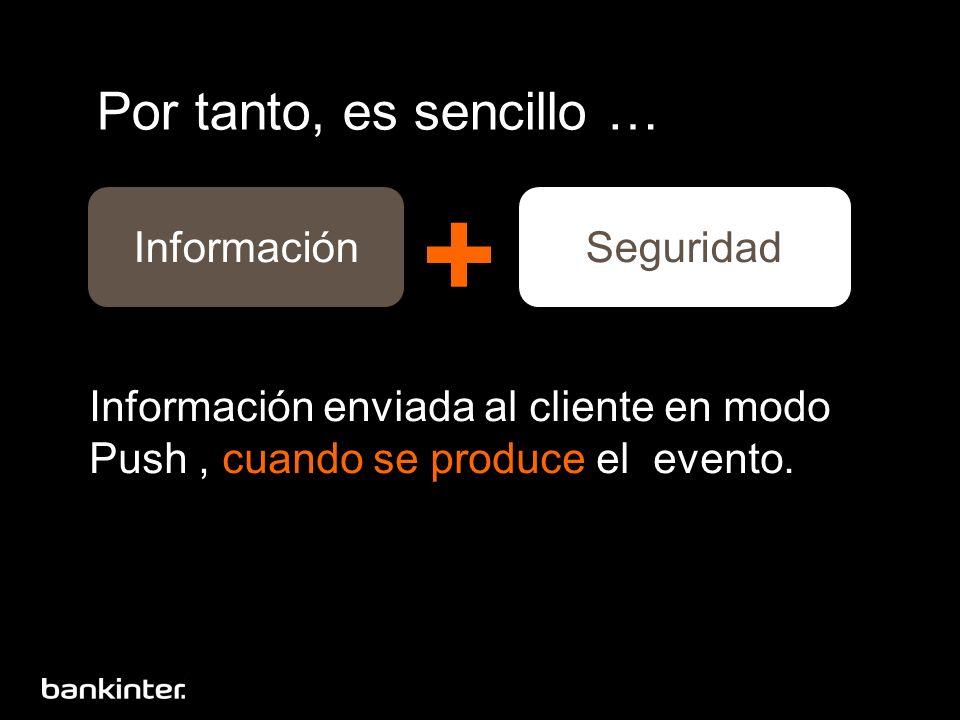 Por tanto, es sencillo … Información enviada al cliente en modo Push, cuando se produce el evento.