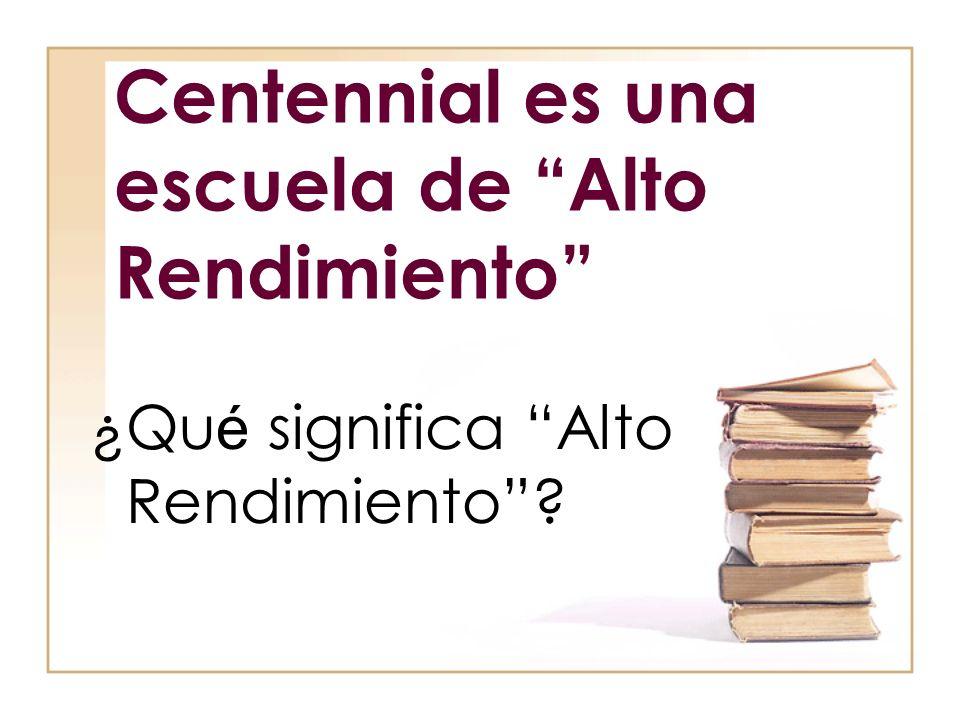Centennial es una escuela de Alto Rendimiento ¿Qu é significa Alto Rendimiento?