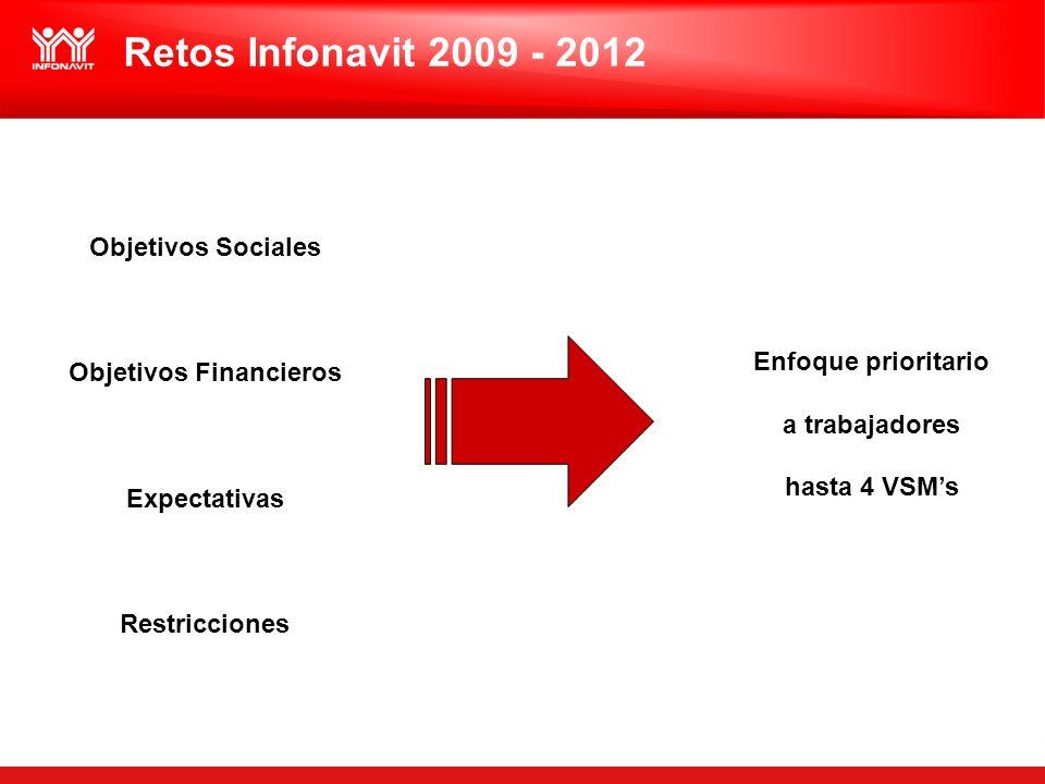 Objetivos Sociales Objetivos Financieros Expectativas Restricciones Enfoque prioritario a trabajadores hasta 4 VSMs