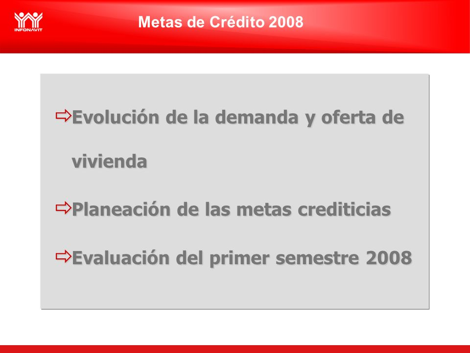 Metas de Crédito 2008 Evolución de la demanda y oferta de vivienda Evolución de la demanda y oferta de vivienda Planeación de las metas crediticias Planeación de las metas crediticias Evaluación del primer semestre 2008 Evaluación del primer semestre 2008
