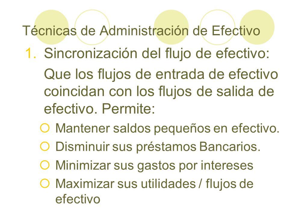 Técnicas de Administración de Efectivo 1.Sincronización del flujo de efectivo: Que los flujos de entrada de efectivo coincidan con los flujos de salid