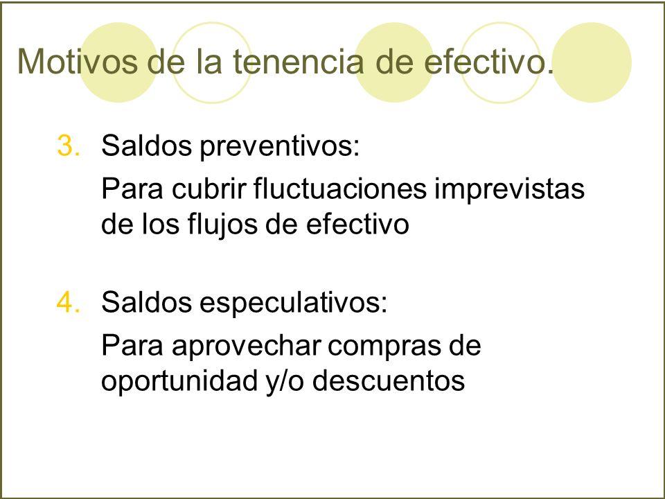 Motivos de la tenencia de efectivo. 3.Saldos preventivos: Para cubrir fluctuaciones imprevistas de los flujos de efectivo 4.Saldos especulativos: Para