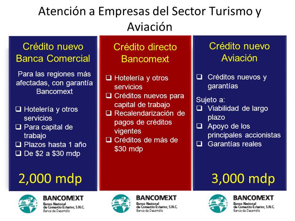 Atención a Empresas del Sector Turismo y Aviación Crédito nuevo Banca Comercial Para las regiones más afectadas, con garantía Bancomext Hotelería y ot