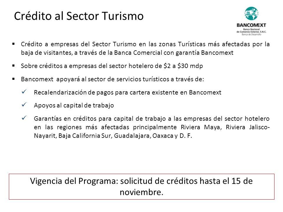 Crédito a empresas del Sector Turismo en las zonas Turísticas más afectadas por la baja de visitantes, a través de la Banca Comercial con garantía Ban