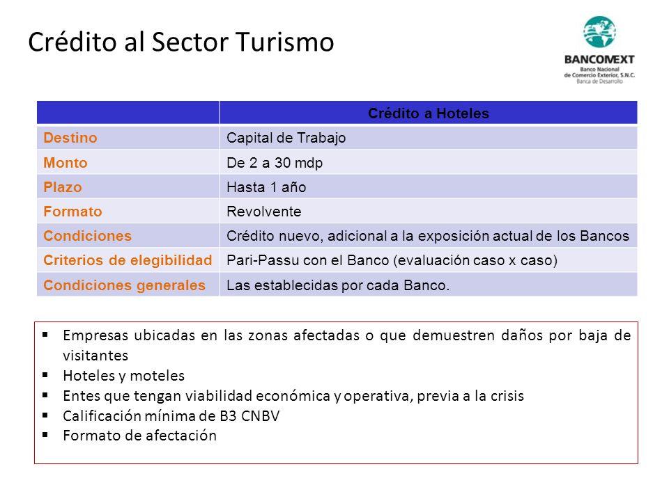 Crédito a Hoteles DestinoCapital de Trabajo MontoDe 2 a 30 mdp PlazoHasta 1 año FormatoRevolvente CondicionesCrédito nuevo, adicional a la exposición