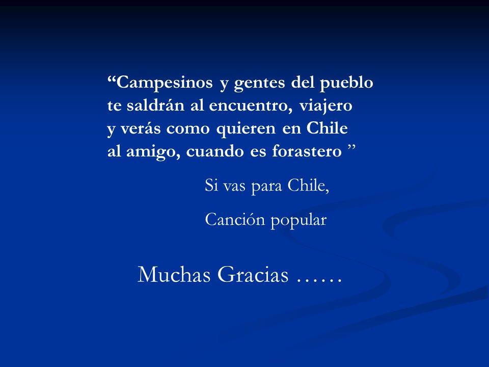 Muchas Gracias …… Campesinos y gentes del pueblo te saldrán al encuentro, viajero y verás como quieren en Chile al amigo, cuando es forastero Si vas para Chile, Canción popular