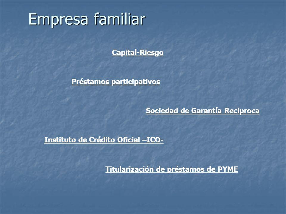 Empresa familiar Préstamos participativos Capital-Riesgo Sociedad de Garantía Reciproca Instituto de Crédito Oficial –ICO- Titularización de préstamos de PYME