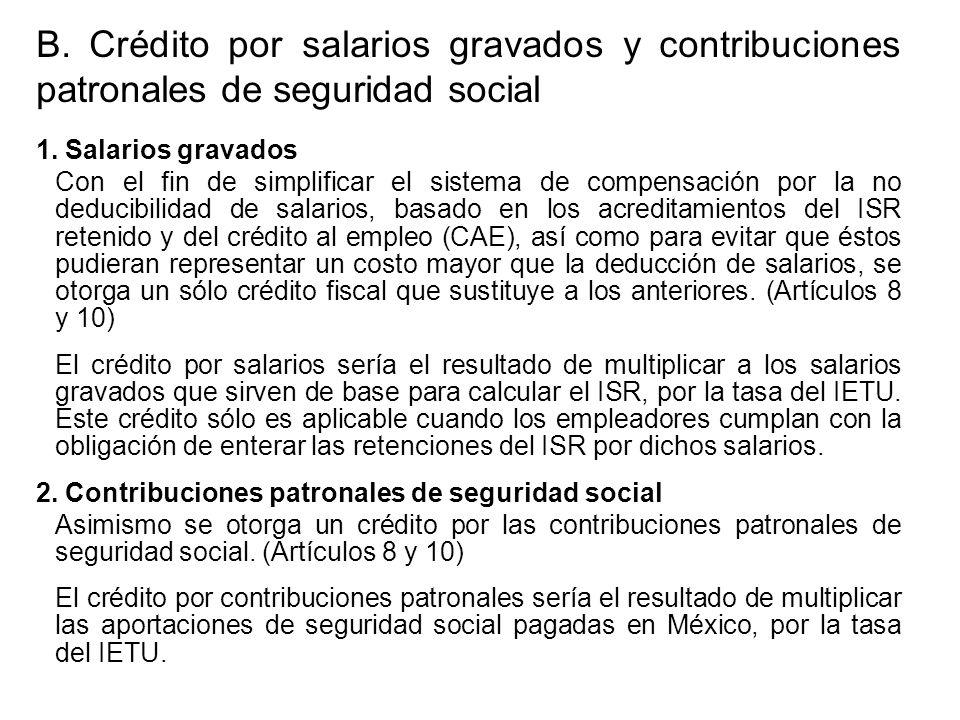 B. Crédito por salarios gravados y contribuciones patronales de seguridad social 1.