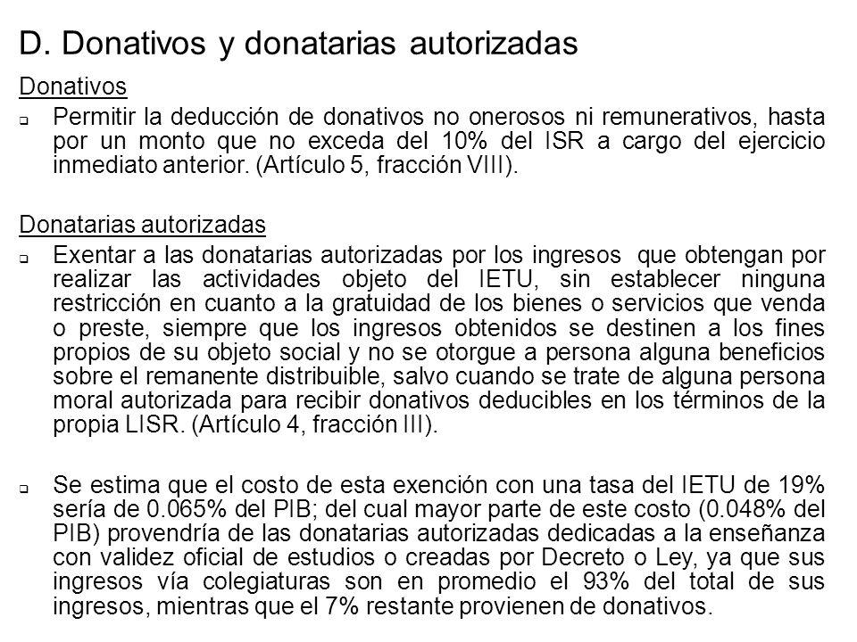 D. Donativos y donatarias autorizadas Donativos Permitir la deducción de donativos no onerosos ni remunerativos, hasta por un monto que no exceda del