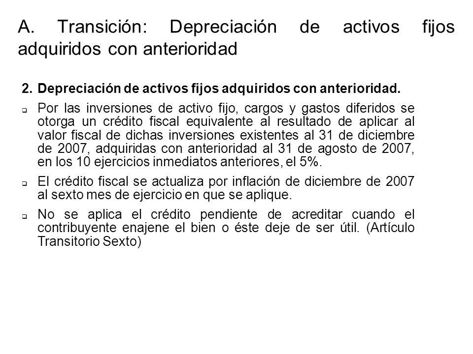 2.Depreciación de activos fijos adquiridos con anterioridad. Por las inversiones de activo fijo, cargos y gastos diferidos se otorga un crédito fiscal