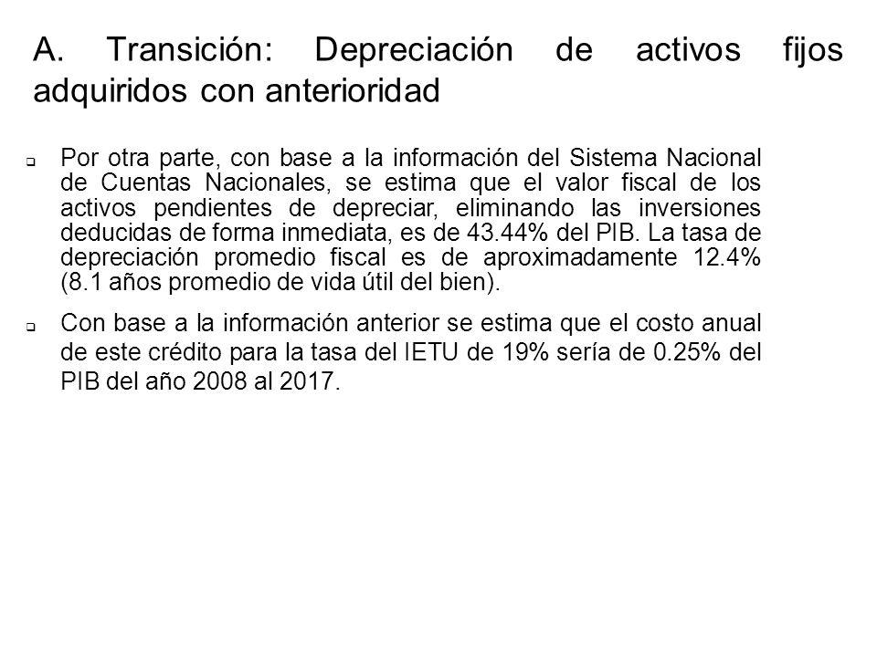 Por otra parte, con base a la información del Sistema Nacional de Cuentas Nacionales, se estima que el valor fiscal de los activos pendientes de depre