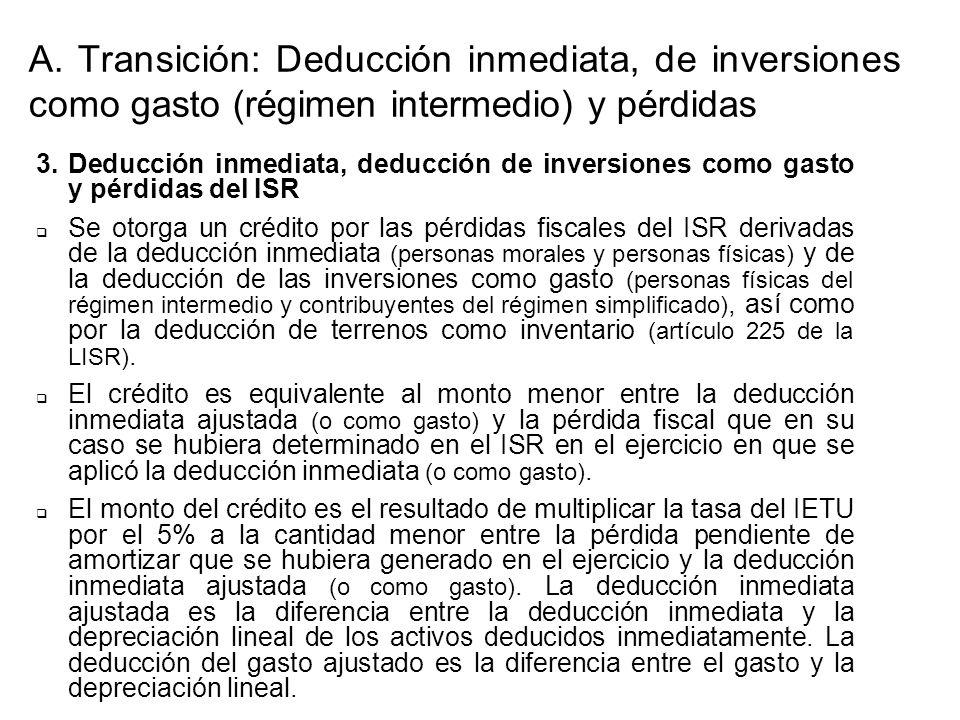 3.Deducción inmediata, deducción de inversiones como gasto y pérdidas del ISR Se otorga un crédito por las pérdidas fiscales del ISR derivadas de la deducción inmediata (personas morales y personas físicas) y de la deducción de las inversiones como gasto (personas físicas del régimen intermedio y contribuyentes del régimen simplificado), así como por la deducción de terrenos como inventario (artículo 225 de la LISR).