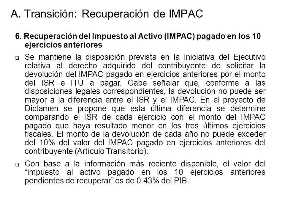 6. Recuperación del Impuesto al Activo (IMPAC) pagado en los 10 ejercicios anteriores Se mantiene la disposición prevista en la Iniciativa del Ejecuti