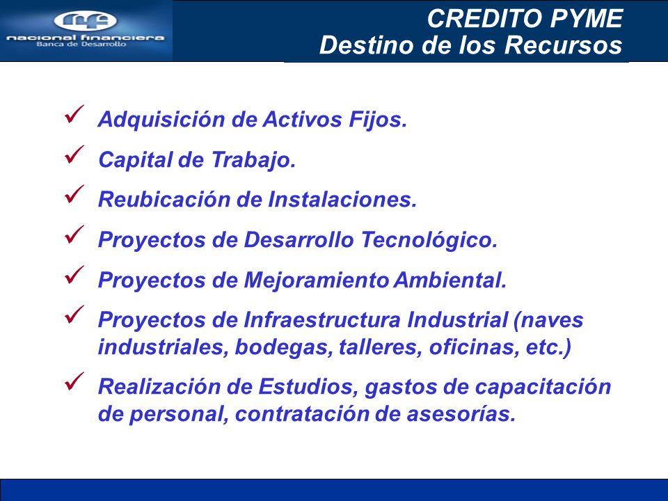 Adquisición de Activos Fijos. Capital de Trabajo. Reubicación de Instalaciones. Proyectos de Desarrollo Tecnológico. Proyectos de Mejoramiento Ambient