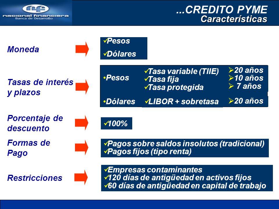 Moneda Tasas de interés y plazos Porcentaje de descuento Formas de Pago Restricciones Pesos Dólares Pesos Dólares 20 años 10 años 7 años 20 años LIBOR