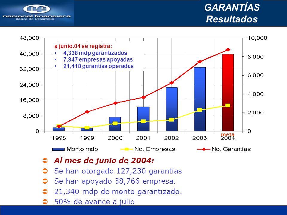 a junio.04 se registra: 4,338 mdp garantizados 7,847 empresas apoyadas 21,418 garantías operadas meta Al mes de junio de 2004: Se han otorgado 127,230 garantías Se han apoyado 38,766 empresa.