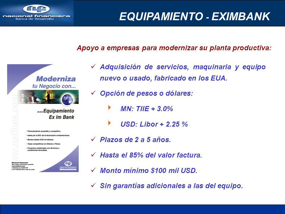 Apoyo a empresas para modernizar su planta productiva: EQUIPAMIENTO - EXIMBANK Adquisición de servicios, maquinaria y equipo nuevo o usado, fabricado en los EUA.