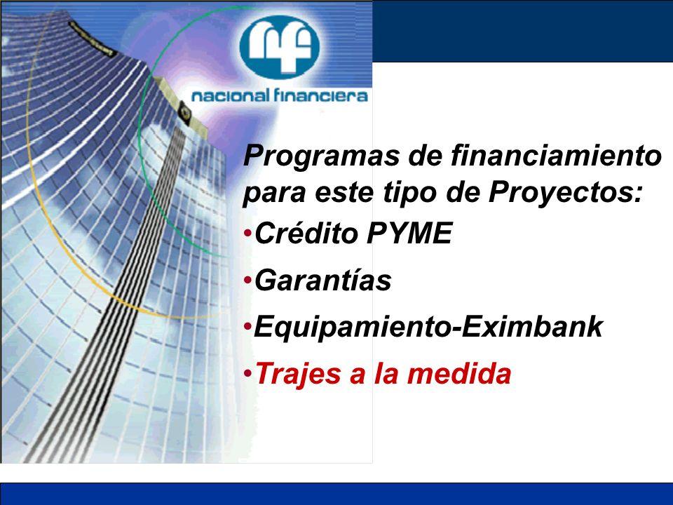 Programas de financiamiento para este tipo de Proyectos: Crédito PYME Garantías Equipamiento-Eximbank Trajes a la medida