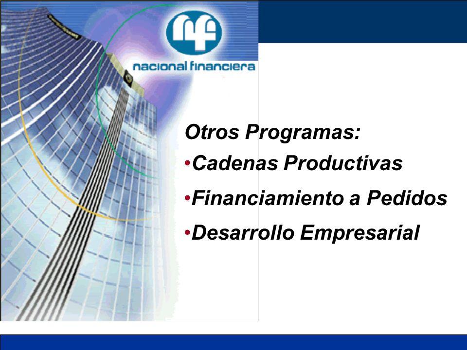Otros Programas: Cadenas Productivas Financiamiento a Pedidos Desarrollo Empresarial