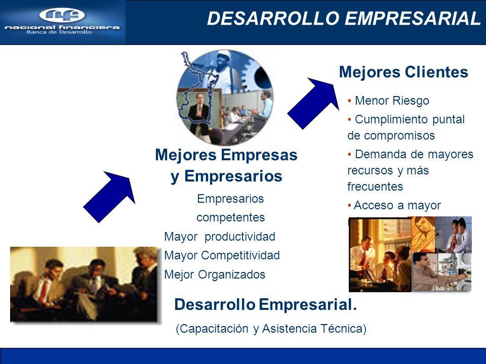 DESARROLLO EMPRESARIAL Desarrollo Empresarial. (Capacitación y Asistencia Técnica) Mejores Clientes Menor Riesgo Cumplimiento puntal de compromisos De