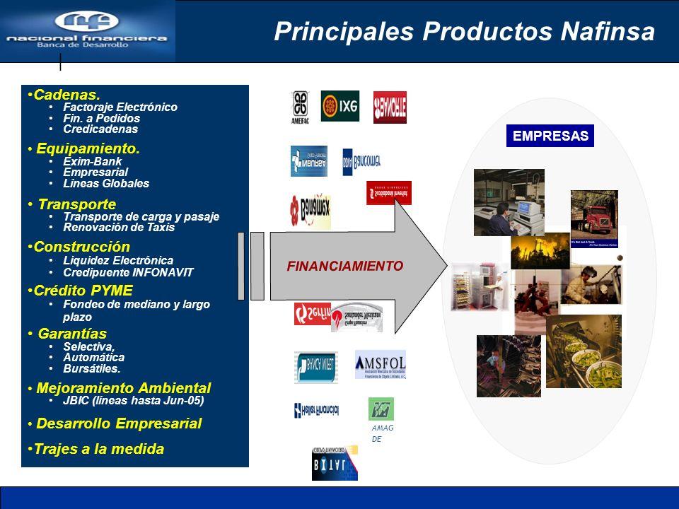 Principales Productos Nafinsa Cadenas. Factoraje Electrónico Fin. a Pedidos Credicadenas Equipamiento. Exim-Bank Empresarial Lìneas Globales Transport