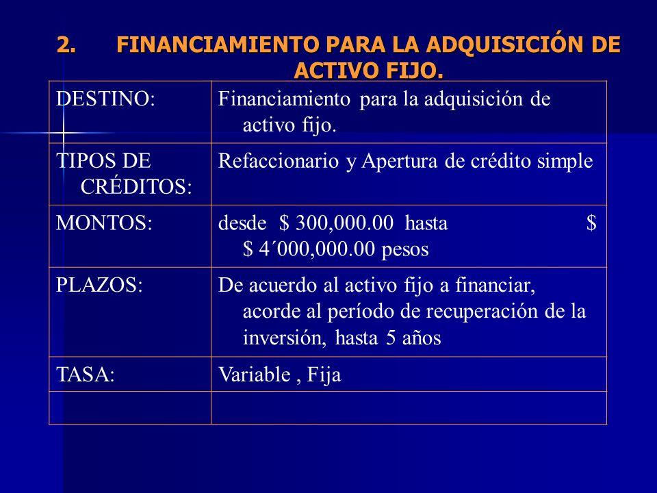 2.FINANCIAMIENTO PARA LA ADQUISICIÓN DE ACTIVO FIJO. DESTINO:Financiamiento para la adquisición de activo fijo. TIPOS DE CRÉDITOS: Refaccionario y Ape