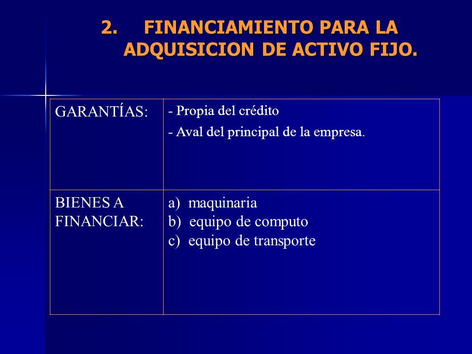 GARANTÍAS: - Propia del crédito - Aval del principal de la empresa. BIENES A FINANCIAR: a) maquinaria b) equipo de computo c) equipo de transporte 2.F