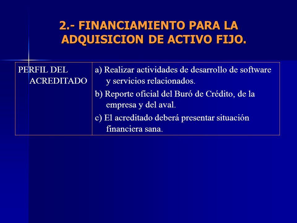 PERFIL DEL ACREDITADO a) Realizar actividades de desarrollo de software y servicios relacionados. b) Reporte oficial del Buró de Crédito, de la empres