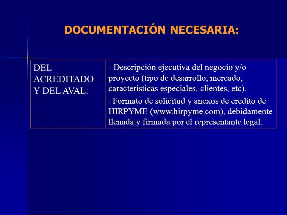 DEL ACREDITADO Y DEL AVAL: - Descripción ejecutiva del negocio y/o proyecto (tipo de desarrollo, mercado, características especiales, clientes, etc).
