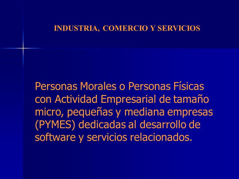 INDUSTRIA, COMERCIO Y SERVICIOS Personas Morales o Personas Físicas con Actividad Empresarial de tamaño micro, pequeñas y mediana empresas (PYMES) ded